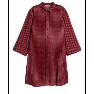 H&M Plaid Shirt Dress Tunic Red Black 6